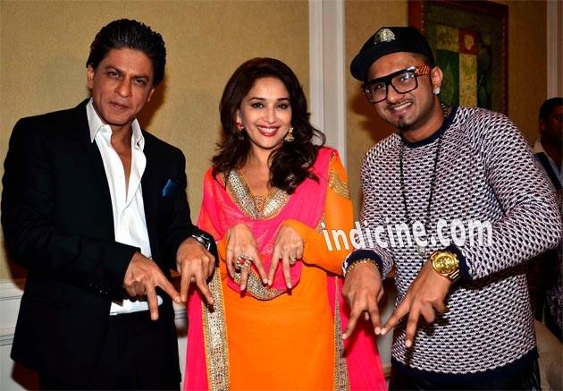 Shahrukh Khan with Madhuri Dixit and Yo Yo Honey Singh