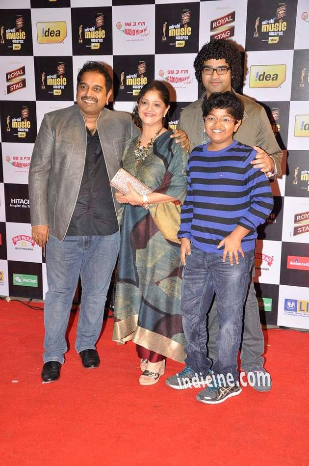 Shankar Mahadevan with wife Sangeeta Mahadevan and Sons Siddharth and Shivam