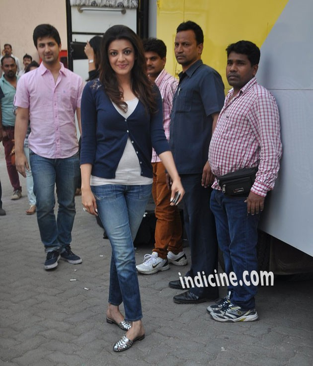 Kajal Agarwal snapped on the sets of Colgate Ad shoot