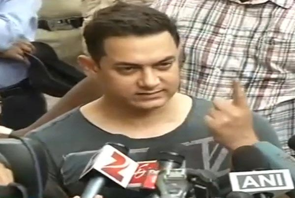Aamir Khan casts his vote and talks to the media