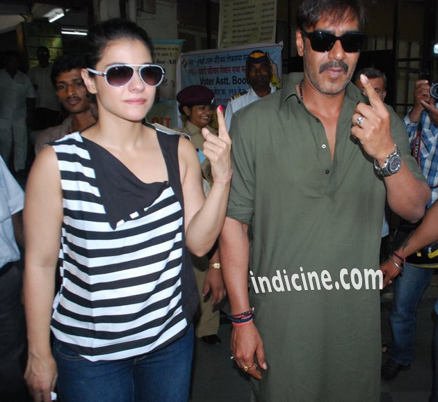 Kajol and Ajay Devgan show off their fingers with the ink mark