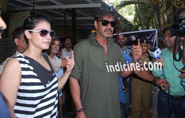 Kajol and Ajay Devgan with media after casting their votes
