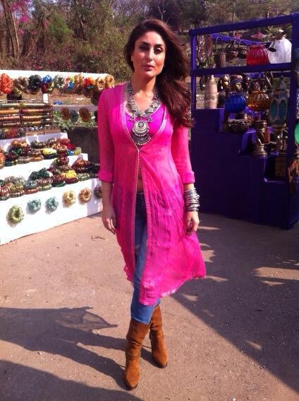 Kareena Kapoor in hot pink Gabbar on location