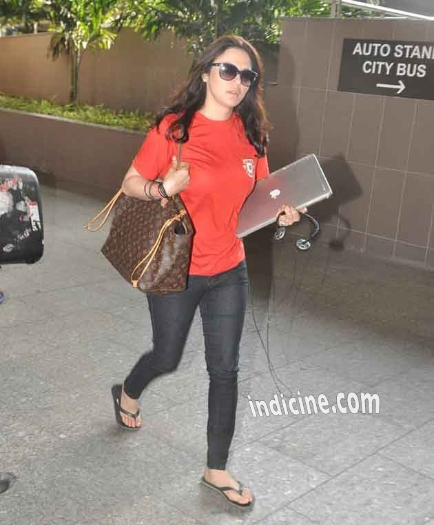 Preity Zinta snapped at the airport as she returns from IPL Match