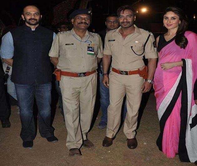 Rohit Shetty with Ajay Devgn and Kareena Kapoor