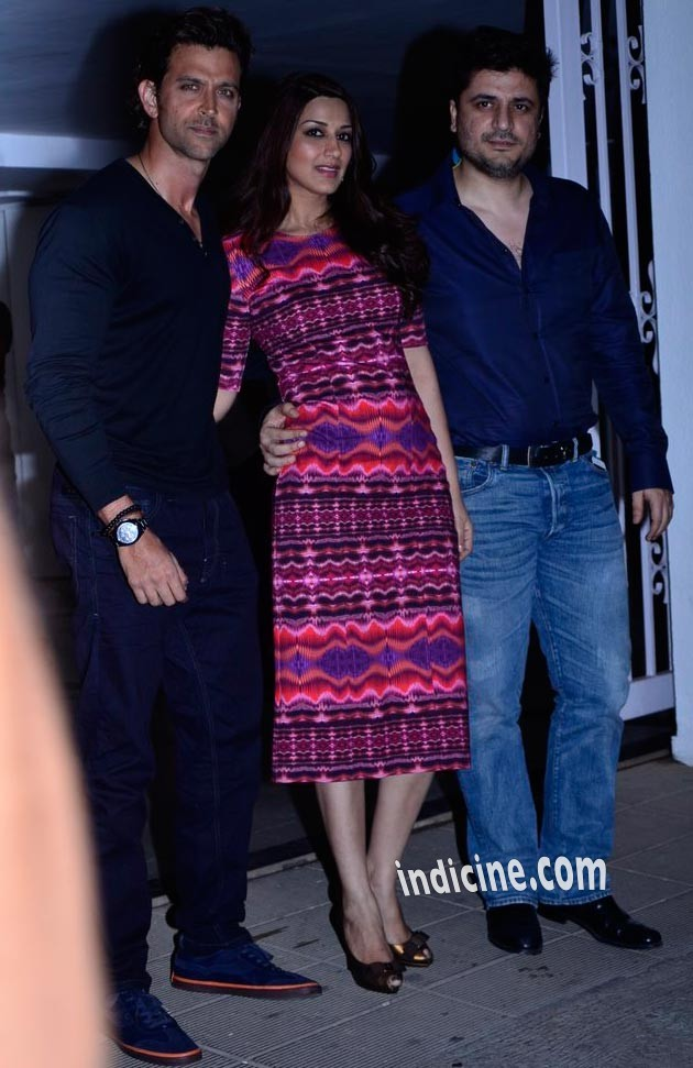 Hrithik Roshan with Sonali Bendre and Goldie Behl