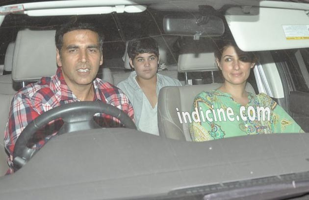 Akshay Kumar snapped with family at Holiday screening