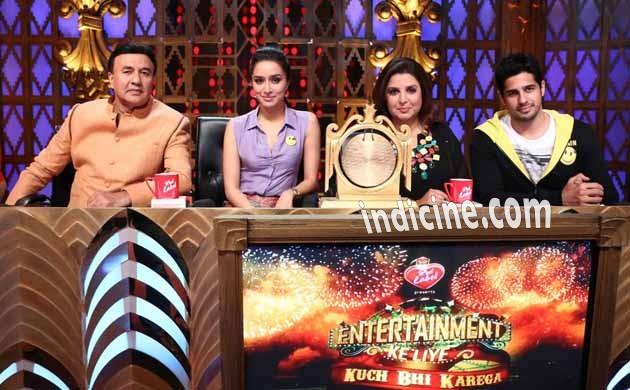 Anu Malik, Shraddha Kapoor, Farah Khan and Sidharth Malhotra on the sets of Entertainment Ke Liye Kuch Bhi Karega
