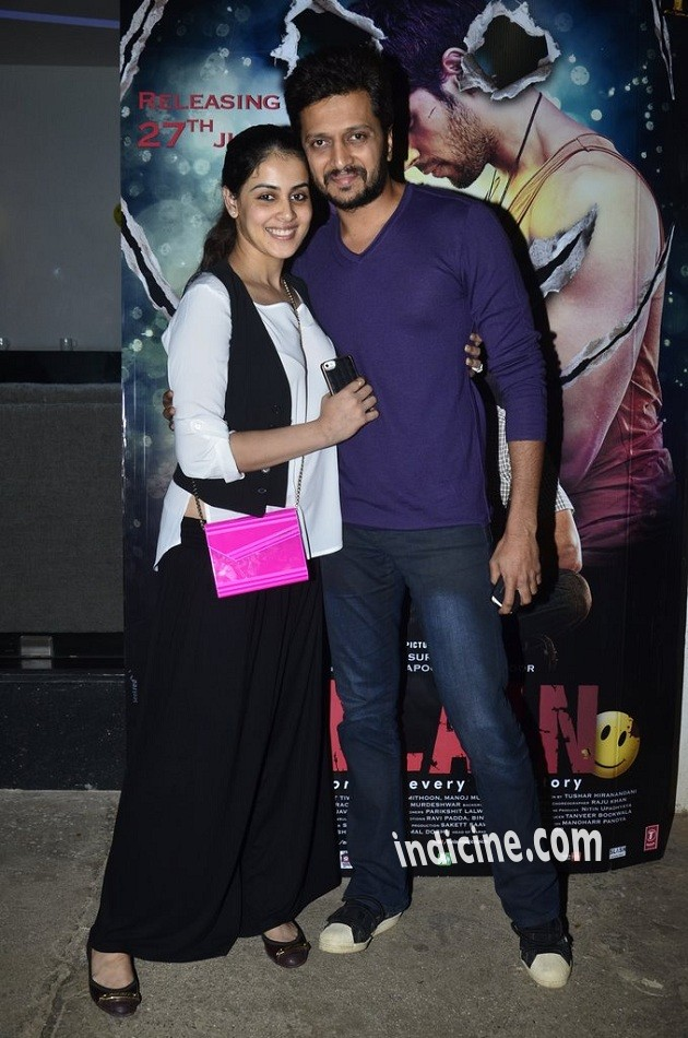 Genelia D'Souza, Ritesh Deshmukh at special screening of Ek Villain at Sunny Super Sound