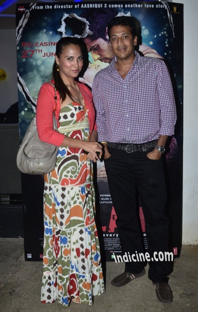 Lara Dutta with husband Mahesh Bhupathi at Ek Villain Special screening
