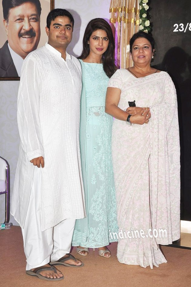 Priyanka Chopra with mother Madhu Chopra and brother Siddharth Chopra