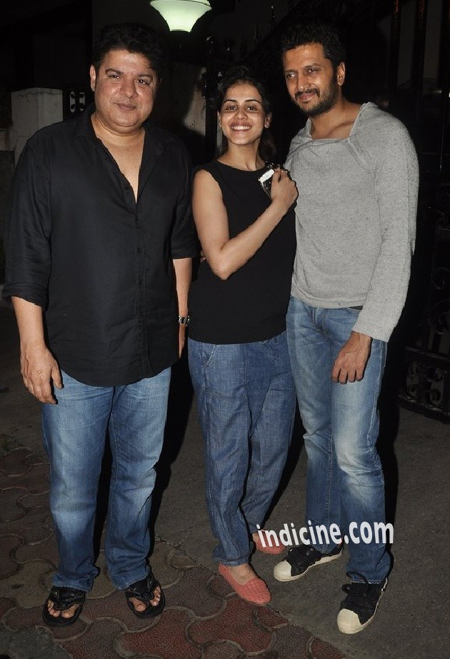 Sajid Khan, Genelia Dsouza and Ritesh Deshmukh at Tamanna's house party