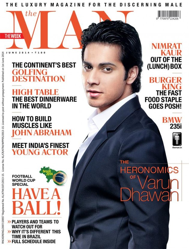 Varun Dhawan on The Man Magazine Cover