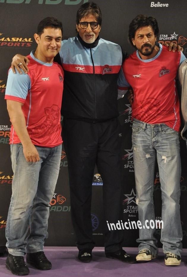 Aamir Khan, Amitabh Bachchan and Shahrukh Khan at Pro Kabbadi League