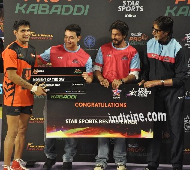 Aamir Khan, Shahrukh Khan and Big B at Pro Kabbadi League