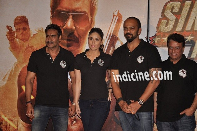 Ajay Devgan, Kareena Kapoor and Rohit Shetty at Singham Returns trailer launch