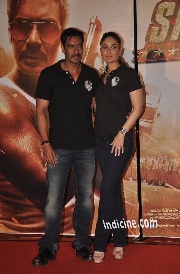 Ajay Devgan, Kareena Kapoor at Singham Returns trailer launch