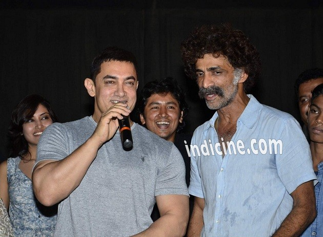 Aamir Khan, Makrand Deshpande at the screening of Marathi film Saturday Sunday