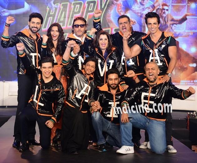 Abhishek Bachchan, Deepika Padukone, Jackie Shroff, Farah Khan, Boman Irani, Sonu Sood, Vivaan Shah, SRK, Shekhar Ravjiani and Vishal Dadlani