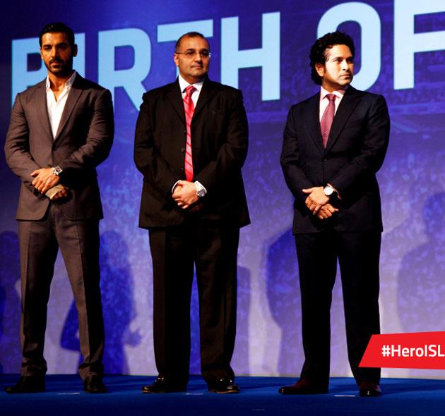 John Abraham, Sachin Tendulkar at Indian Super League press meet