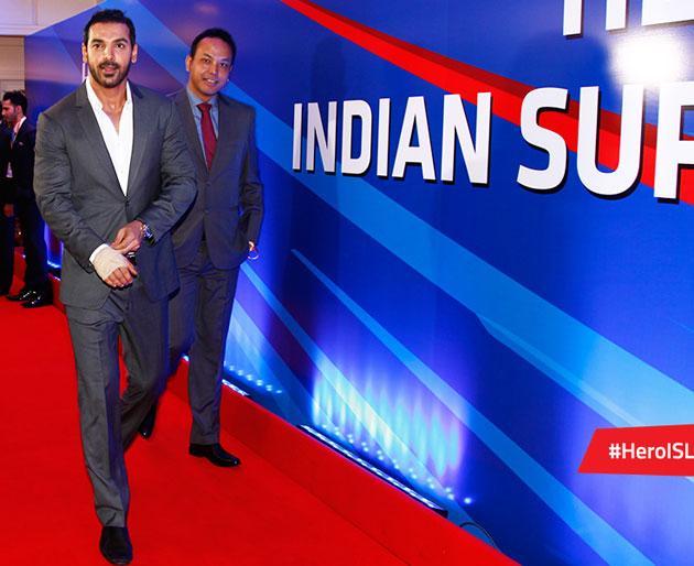 John Abraham at the press meet of Indian Super League