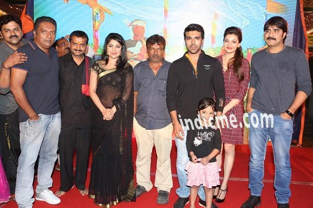 Prakash Raj, Kamalinee Mukherjee, Ram Charan Teja, Kajal Agarwal and Srikanth