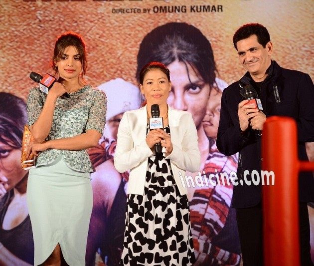 Priyanka Chopra, Mary Kom and Omung Kumar at Mary Kom music launch