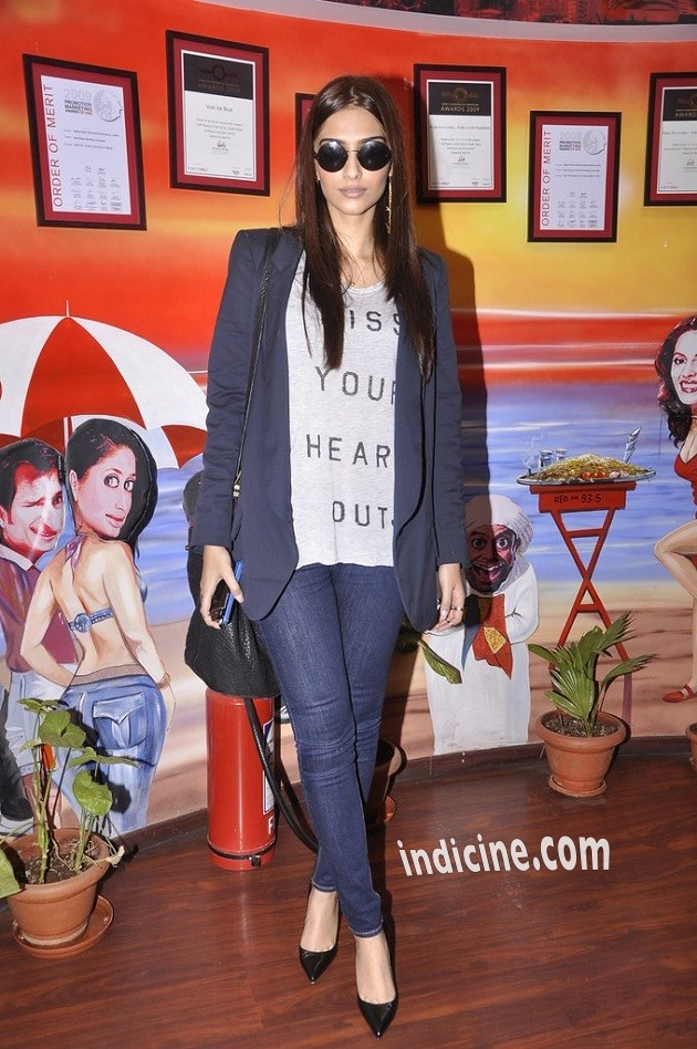 Sonam Kapoor promotes Khoobsurat on Red FM 93.5