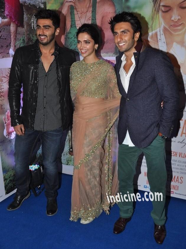 Arjun Kapoor, Deepika Padukone and Ranveer Singh at Finding Fanny success bash