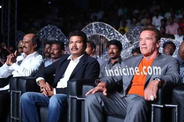 Rajinikanth, Shankar and Arnold Schwarzenegger at I music launch