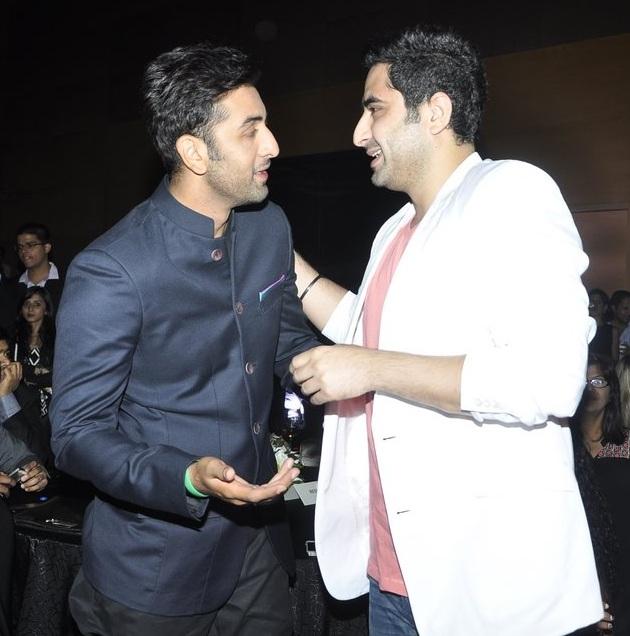 Ranbir Kapoor and DJ Khushi greets each other at success bash of Saavn