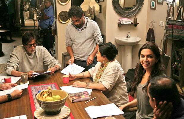 Amitabh Bachchan, Deepika Padukone on the sets of Piku
