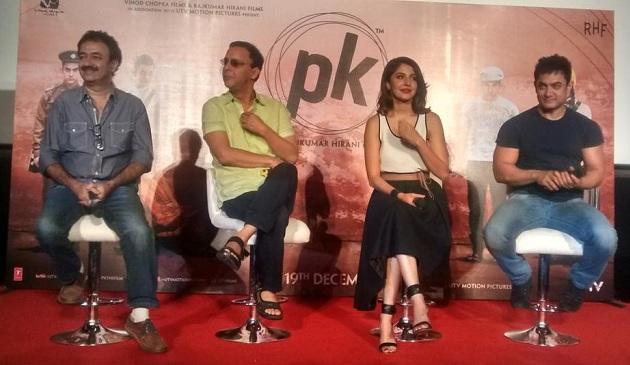Rajkumar Hirani, Vidhu Vinod Chopra, Anushka Sharma and Aamir Khan at PK trailer launch