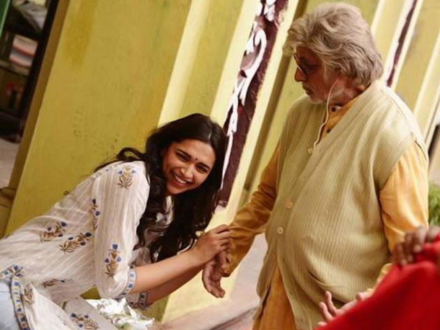 Amitabh Bachchan, Deepika Padukone on the sets of Piku