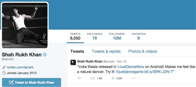 Shahrukh Khan 10 Million Followers