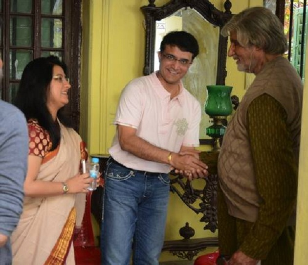 Sourav Ganguly, Amitabh Bachchan on the sets of Piku