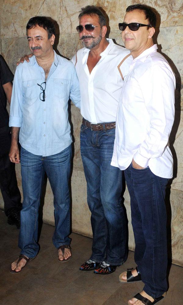 Rajkumar Hirani, Sanjay Dutt and Vidhu Vinod Chopra at PK special screening