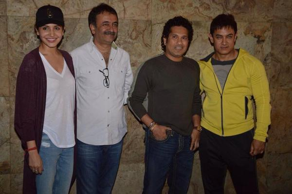 Sachin Tendulkar at the special screening of PK with Aamir Khan, Anushka Sharma and Rajkumar Hirani