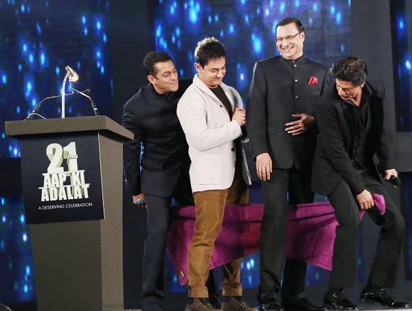 Salman, Aamir and Shahrukh together with Rajat Sharma