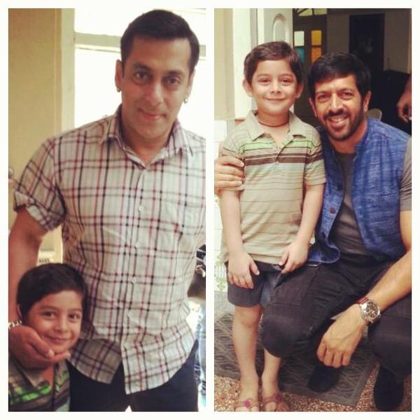 Salman and Kabir Khan with a kid who playing small age role of Salman Khan