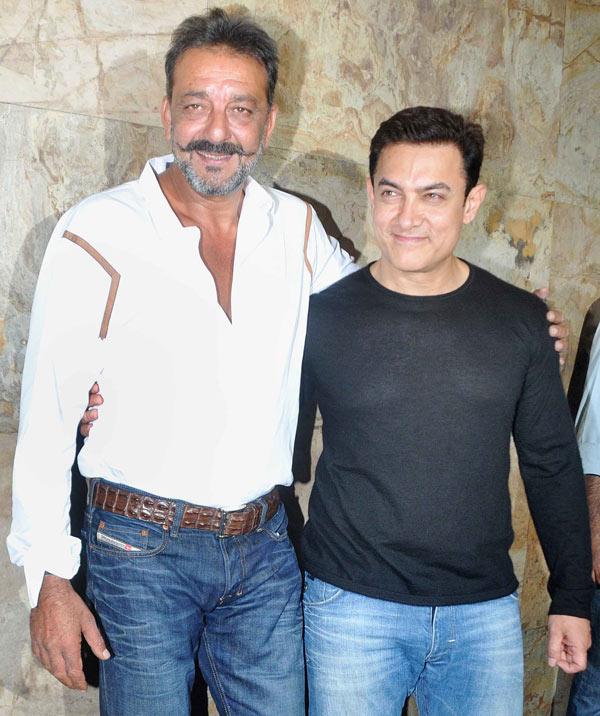 Sanjay Dutt, Aamir Khan at PK special screening