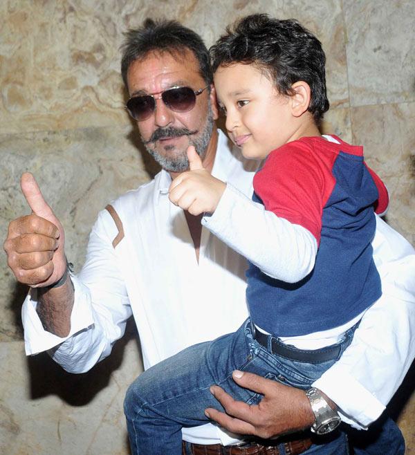 Sanjay Dutt with son Shahraan Dutt at special screening of PK