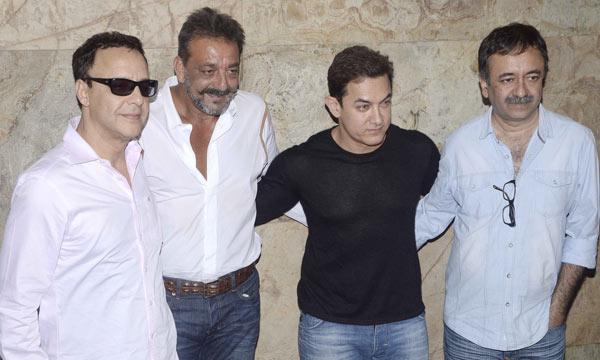Vidhu Vinod Chopra, Sanjay Dutt, Aamir Khan and Rajkumar Hirani