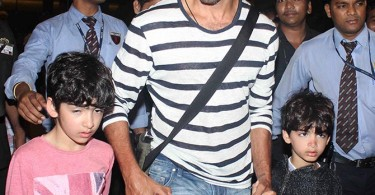 Hrithik Roshan and sons at the Mumbai airport