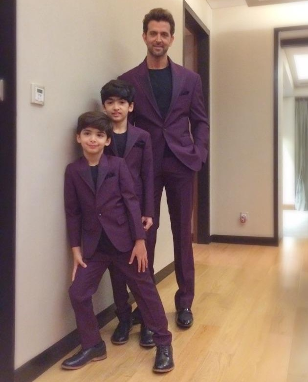 Hrithik Roshan with his sons Hridaan and Hrehaan