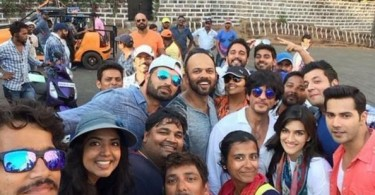 SRK Rohit Varun Kriti on Dilwale sets
