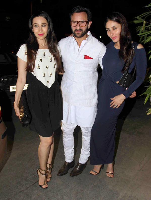 Saif Ali Khan with Kareena and Karisma