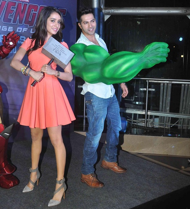 Shraddha Kapoor, Varun Dhawan at Avengers Age Of Ultron special screening