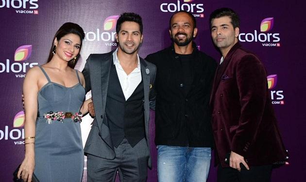 Tanisha Mukherjee, Varun Dhawan, Rohit Shetty and Karan Johar