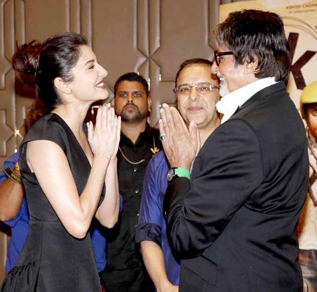 Anushka Sharma and Amitabh Bachchan greet each other at PK success bash